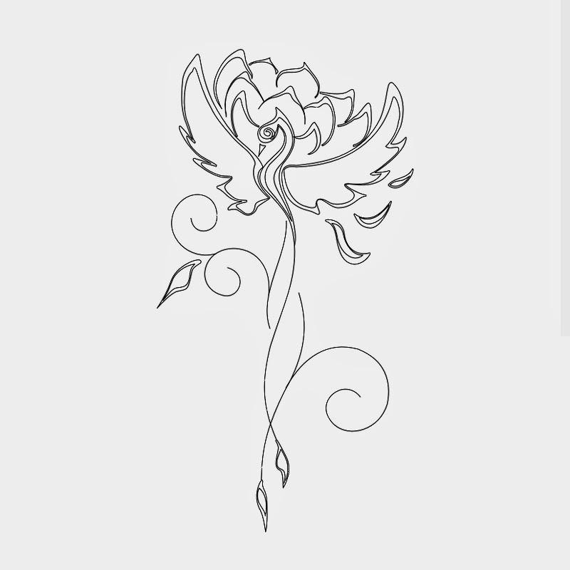 Phoenix and lotus tattoo stencil