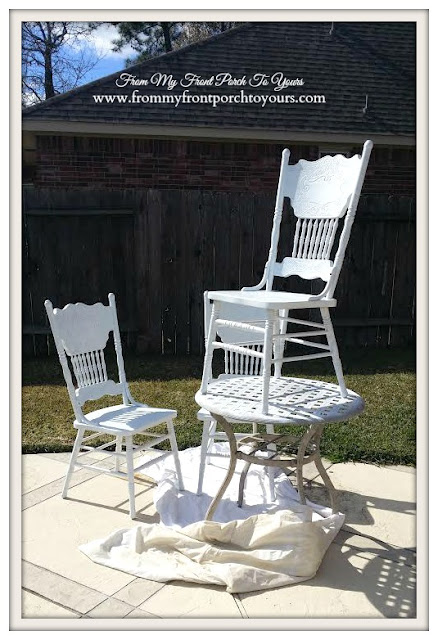 Press back Chairs- White-Spray Paint-From My Front Porch To Yours
