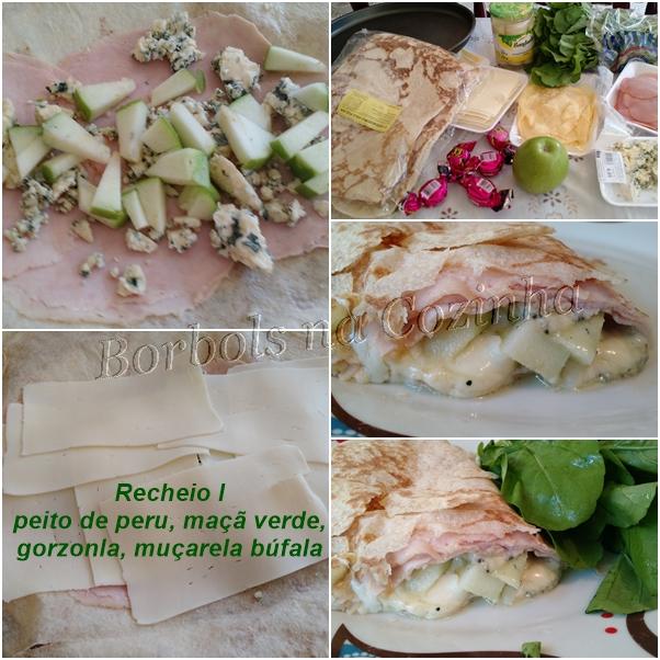wrap recheio I peito de peru maçã verde gorgonzola e