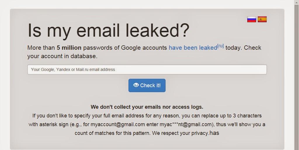 Isleaked، الذي يعمل على البحث داخل قاعدة البيانات المسرّبة على البريد الذي يقوم المستخدم بكتابته.