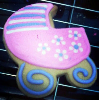 baby carriage pink purple white theme fancy cookies