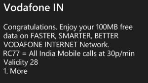 100 mb free vodafone data