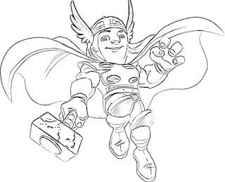 dibujos para colorear, Escuadron de Superheroes, Thor