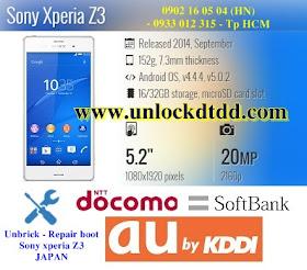 Unbrick cuu boot sony xperia z3 Docomo Solftbank Aukiddi Nhat Ban SOL26 SO01G 401SO lay ngay