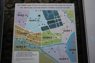 Mapa plano de la red de prisiones de Saigon