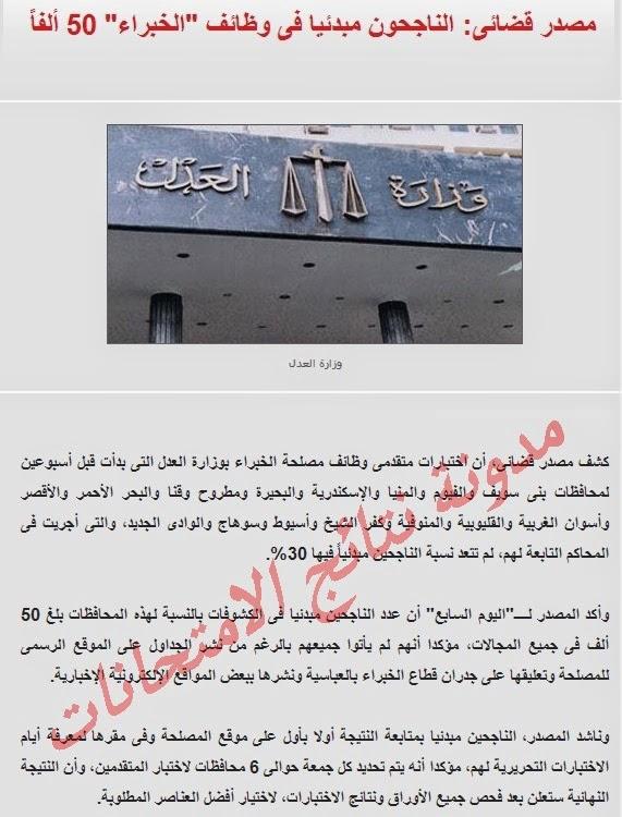 أخر الاخبار عن نتيجة اختبارات وظائف مصلحة الخبراء 2014 وزار ةالعدل واعلان اسماء الفائزين