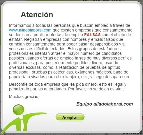 El portal web Aliado Laboral da alerta a sus visitantes de las falsas ofertas de empleo