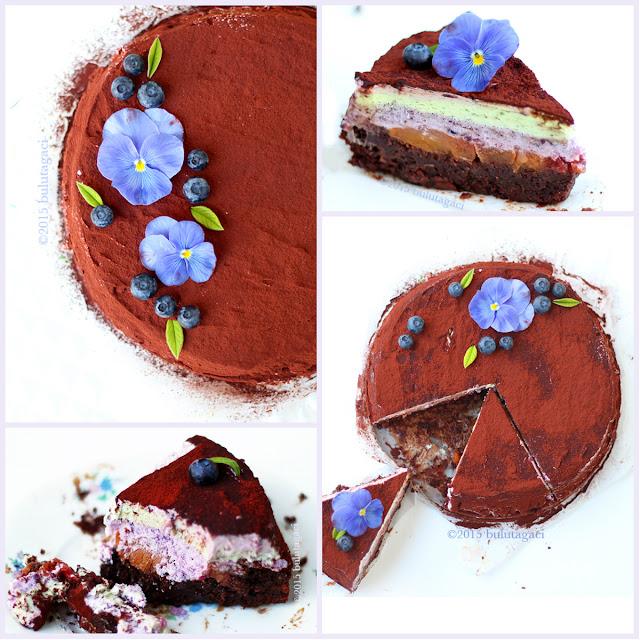 blueberry, peach, nectarine  pistachio flourless nemesis cake