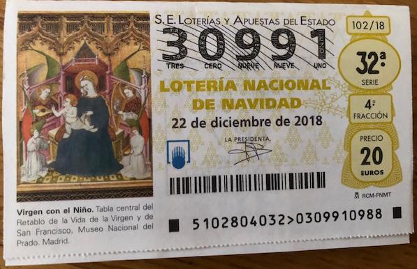 Lotería de Navidad 2018 de los FONDISTAS TOLEDANOS