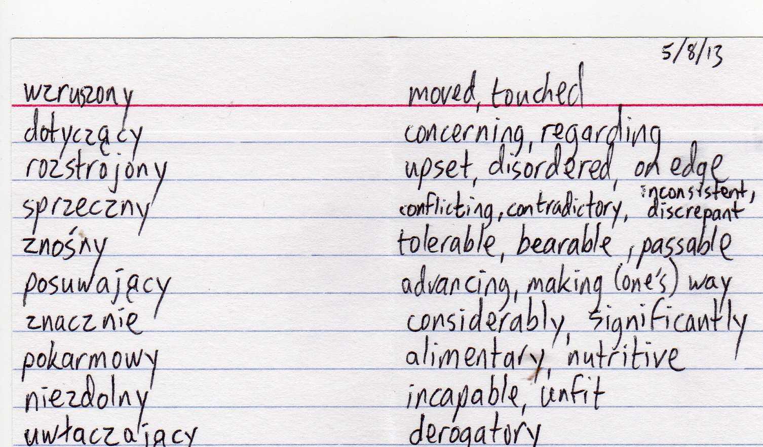 Stuart's Polish Language Learning Blog: Today's Study Card--May 8 ...