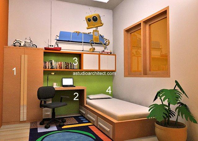 a konsep kamar tidur anak dengan area belajar