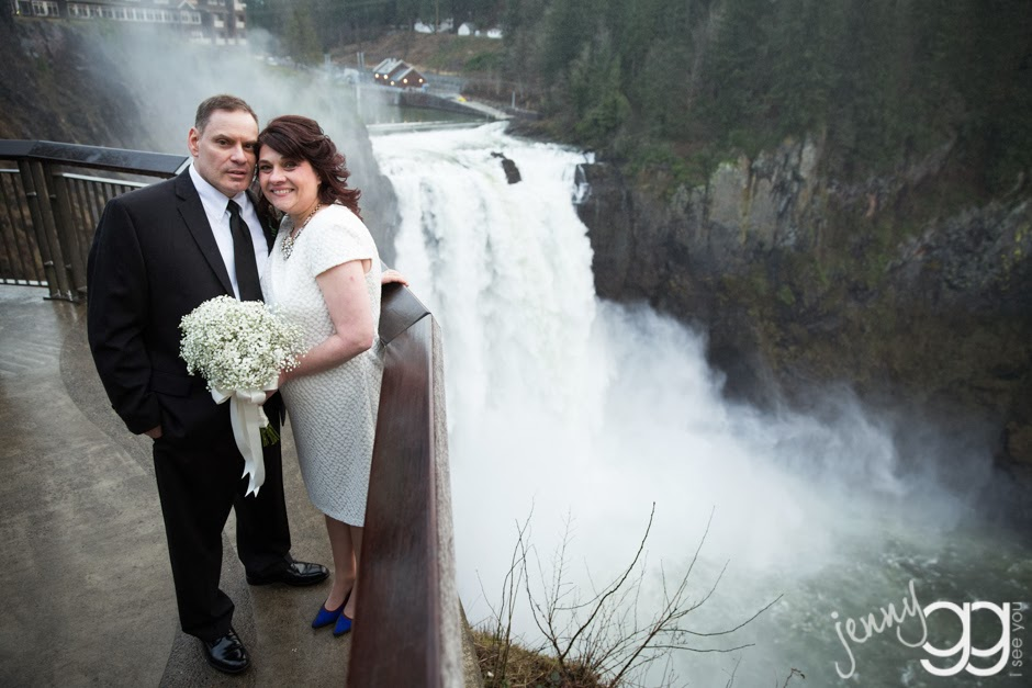 Snoqualmie Falls wedding of Linda and David - Posted by Patricia Stimac, Seattle Wedding Officiant