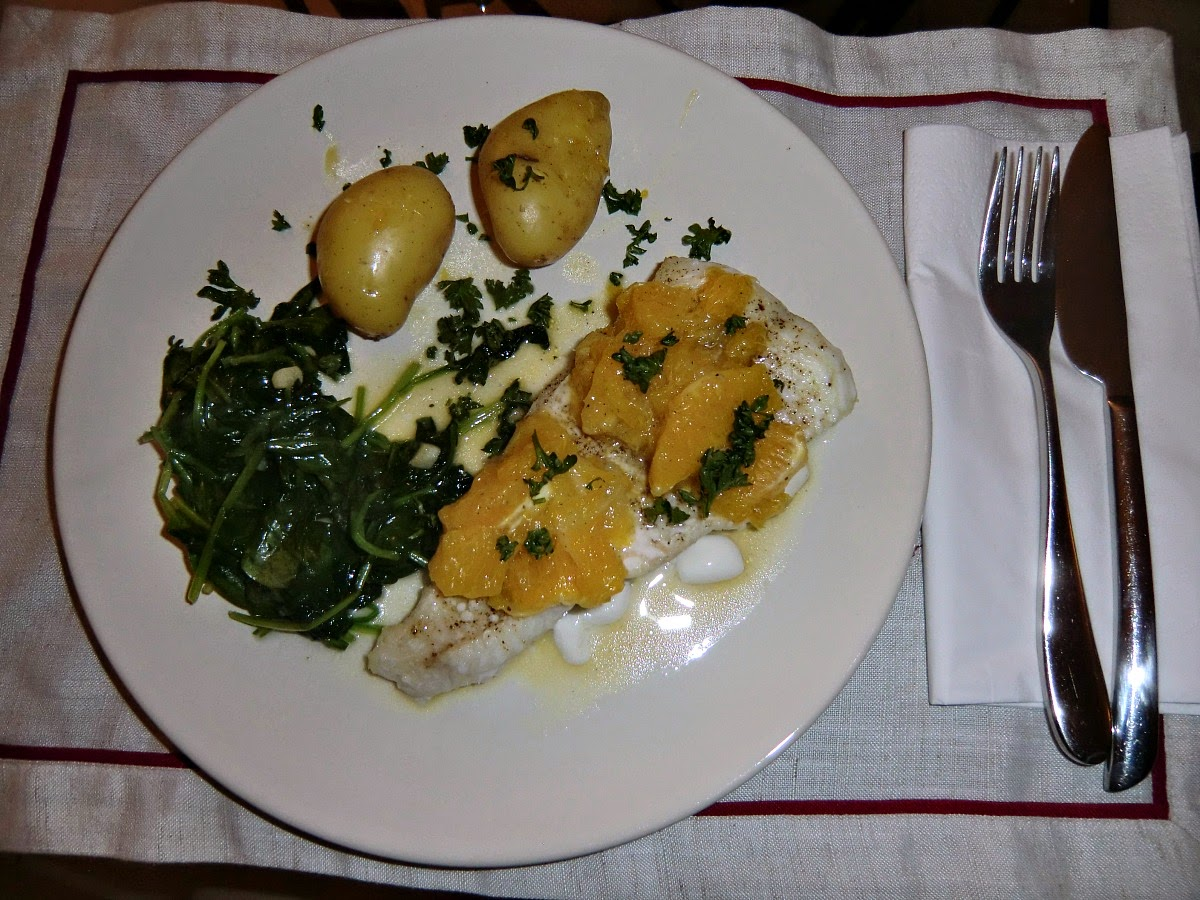 Sea bass fillets with orange and lemon compote