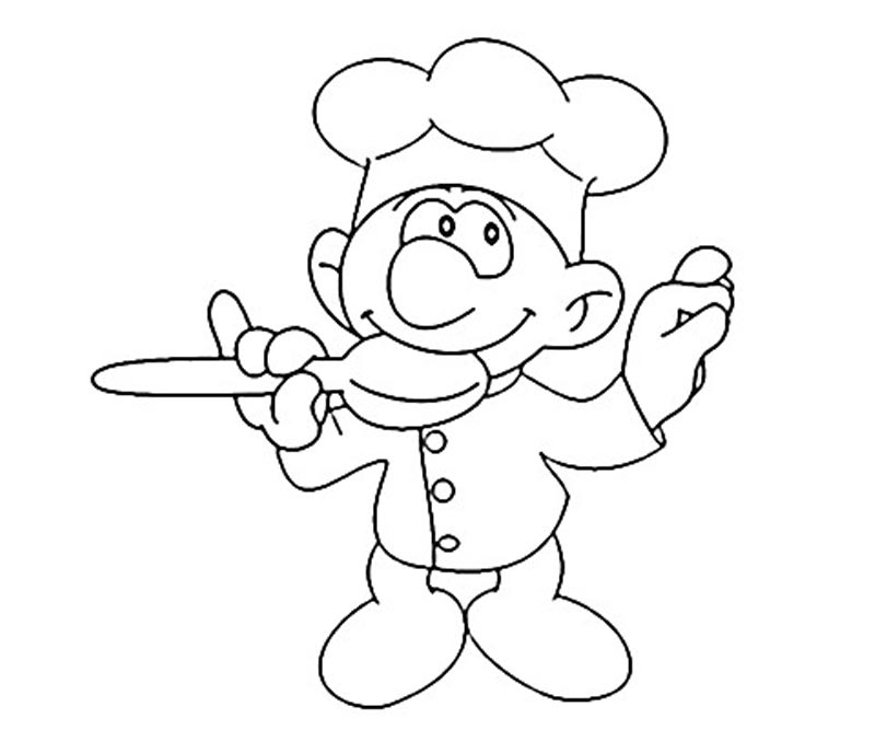#2 Baker Smurf Coloring Page