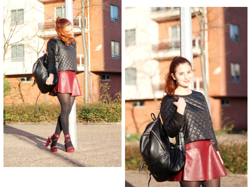 streetstyle quilted sweatshirt and oxblood skirt