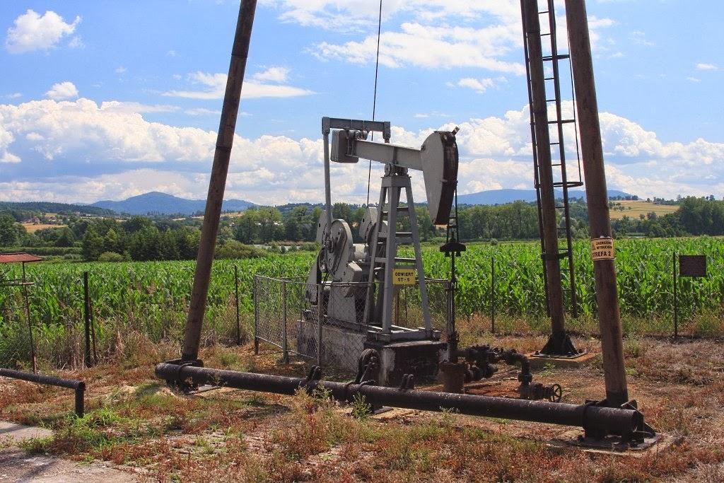 """Solanka wydobywana jest z głębokości ok. 500 m. Umieszczona w odwiercie pompa poruszana jest urządzeniem zwanym """"konikiem"""". Maszyna wydobywcza przypomina wyglądem i zasadą działania te, które są używane do wydobywania ropy naftowej."""