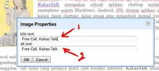 Isikan Keterangan di Title Text dan Alt Text pada menu Image properties di Blogger