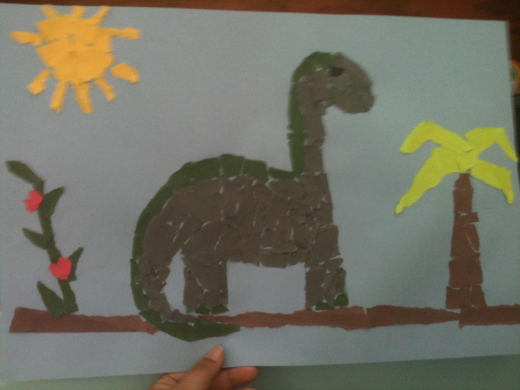 Image result for torn paper dinosaur