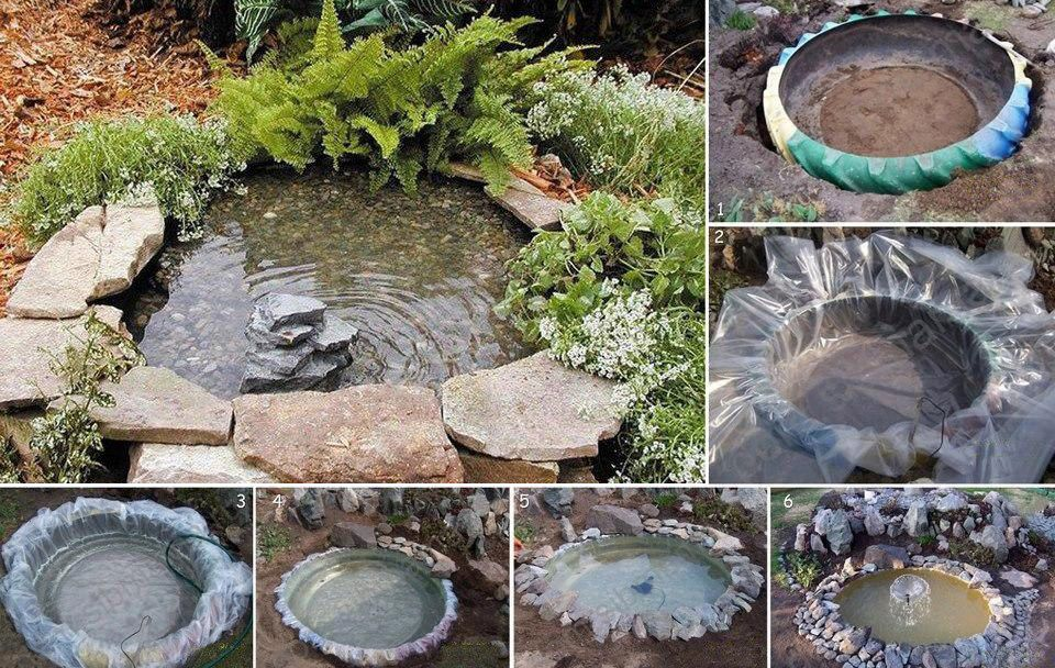 mini lago artificial en el jardin construccion y