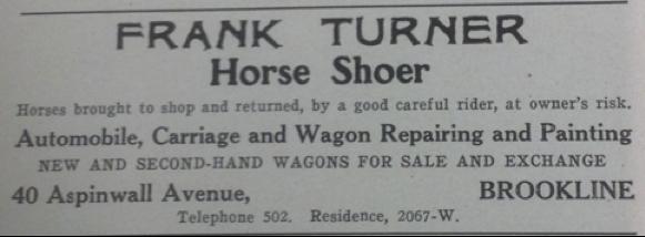 1913 Frank Turner, Horseshoer ad