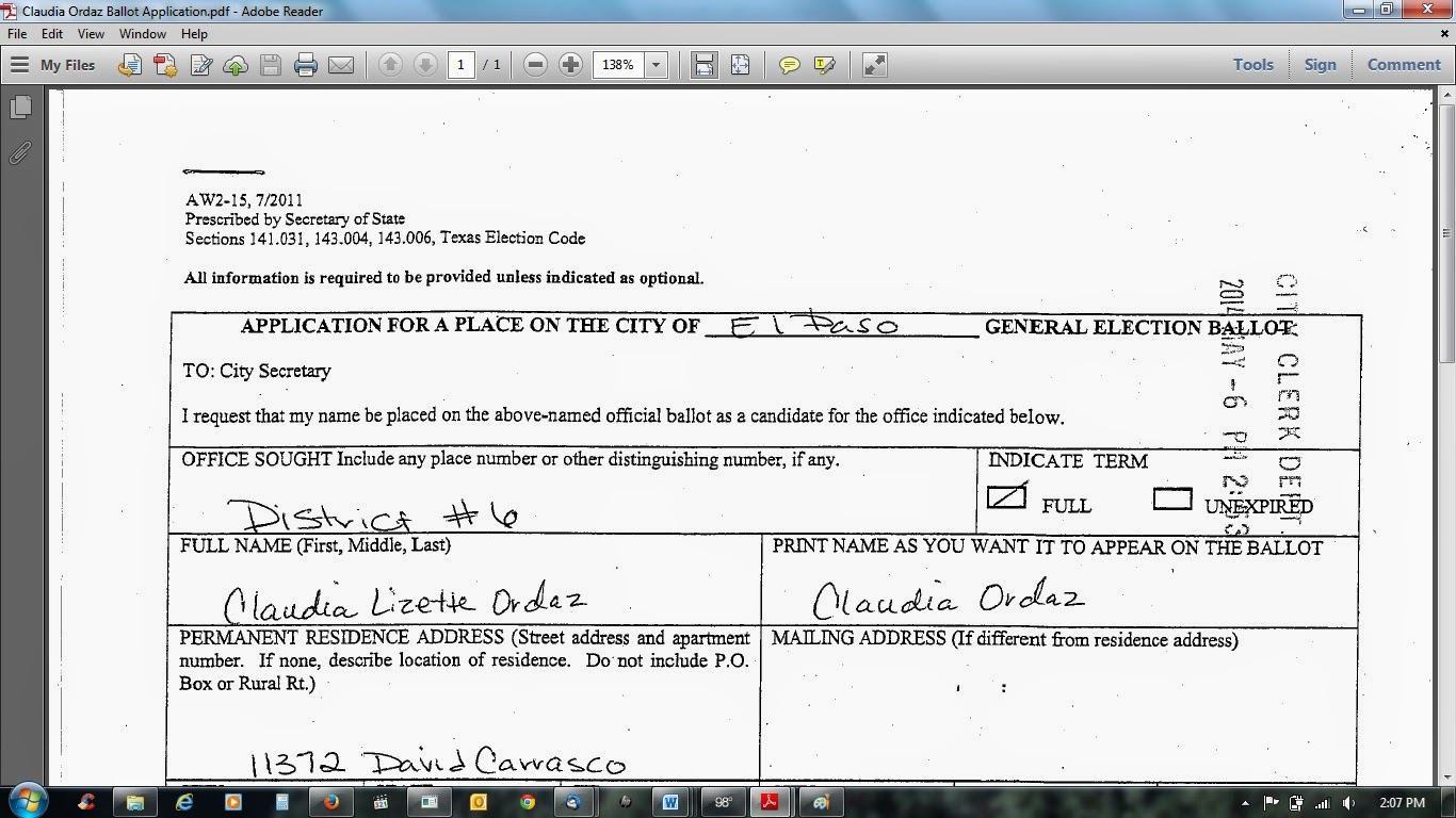Deep inside el paso where the hell does city council rep for application for place on ballot filed may 6 2014 aiddatafo Images