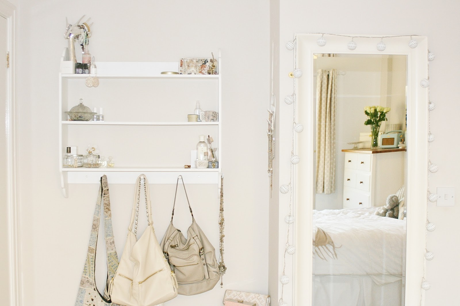 Katherine Penney Bedroom Decor Shelves Handbags Mirror Fairylights White Cream Pretty Modern