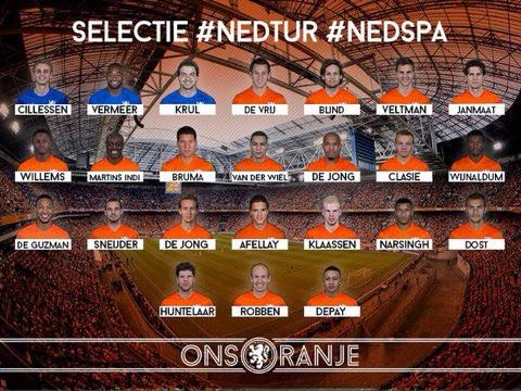 قائمة منتخب هولندا المستدعاة لـ تصفيات كأس آمم أوروبا 2016 م netherlands