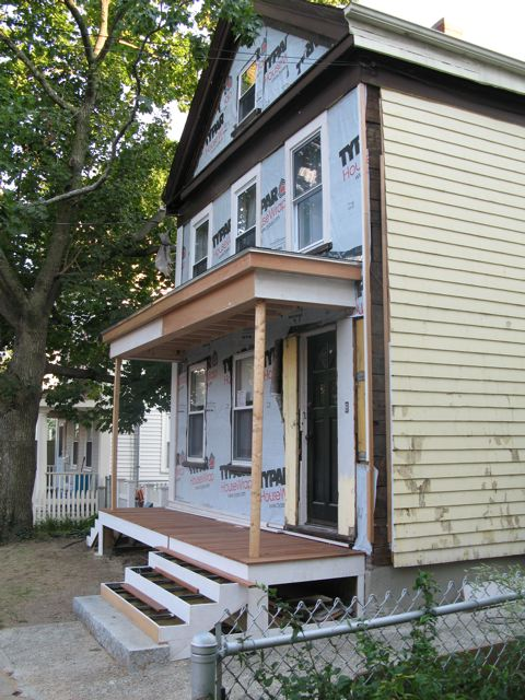 an urban cottage greek revival exterior renovation before and after - Greek Revival Cottage