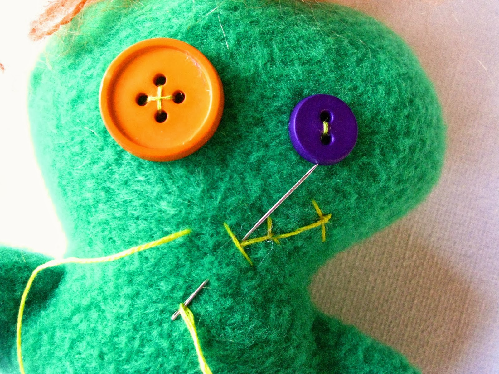 Next Add You Button* Eyes, Use Your Embroidery Floss Here To Add Some Fun  Contrast And Color Don't Try To Make It Perfect, This Guy Is Meant To Look  A