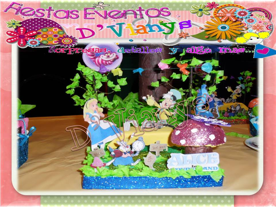 Buscanos en facebook fiestas eventos dvianys alicia en el for Decoracion xv anos alicia pais maravillas