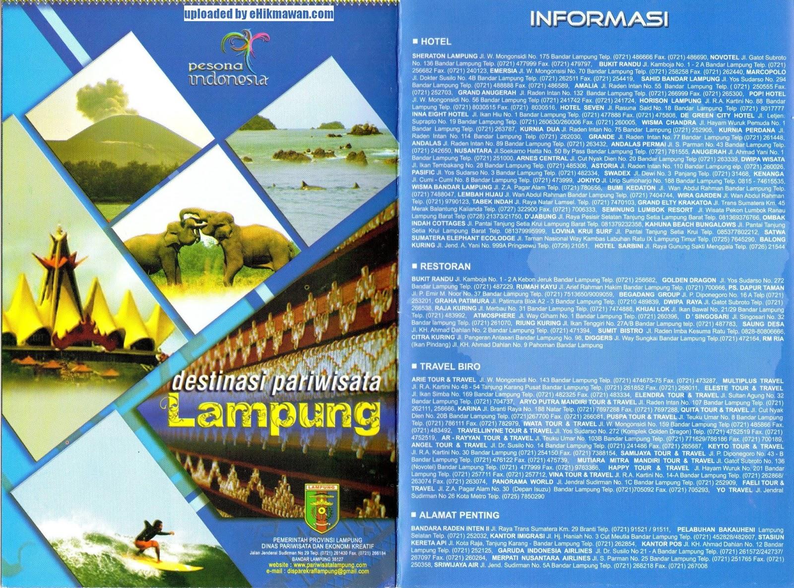 Brosur Peta Destinasi Pariwisata Lampung Brosur Peta Destinasi