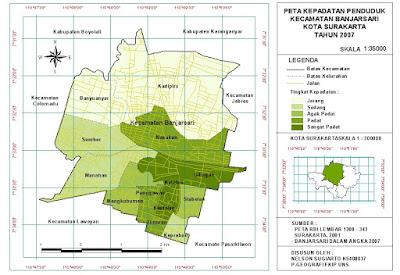 Peta Kepadatan Penduduk Kecamatan Banjarsari, Surakarta