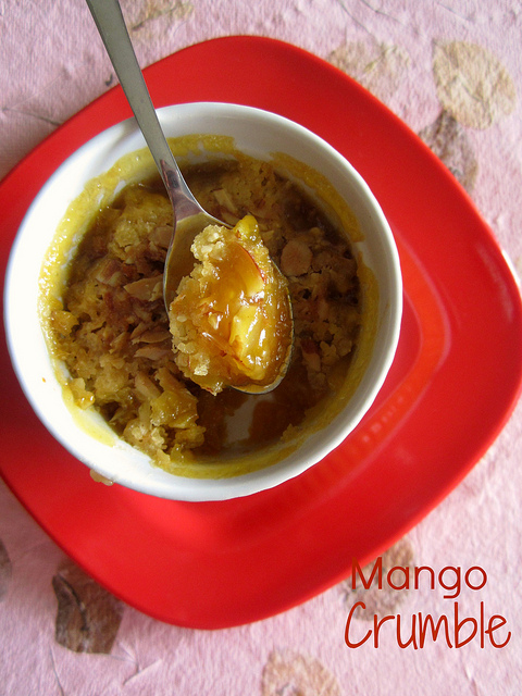 Mango Crumble ,ripe mangoes cooked with butter and caramelized sugar ...