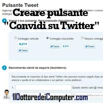 creare pulsante condivisione twitter