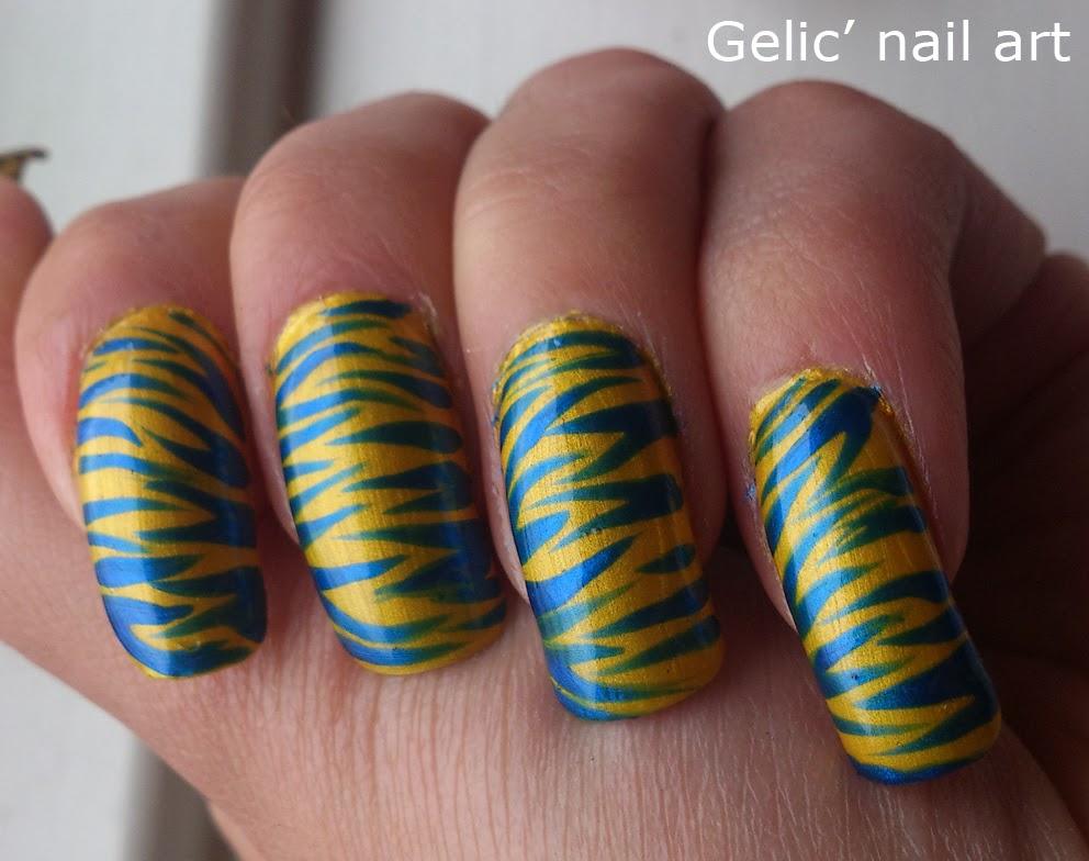 Gelic\' nail art: Swedish yellow and blue tiger nail art