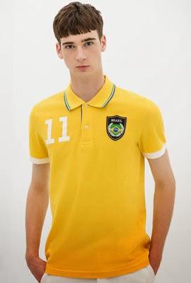 camisa polo bandeira Brasil da Zara para Copa do Mundo de 2014