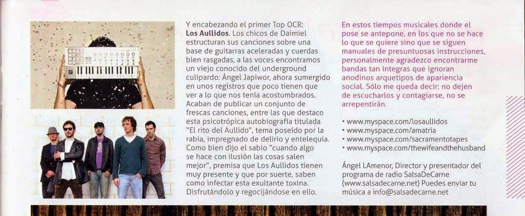 """""""El rito del aullido"""" - Nº 1 en el Top Música de la revista Guía OCR (2010)"""