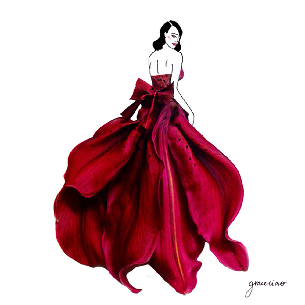 10-Fuchsia-Lily-Nature-and-Grace-Ciao-Design-and-Draw-Dresses-with-Petals-www-designstack-co