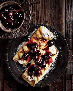 Easiest Pancake Dessert with Cherries and Ricotta Cheese