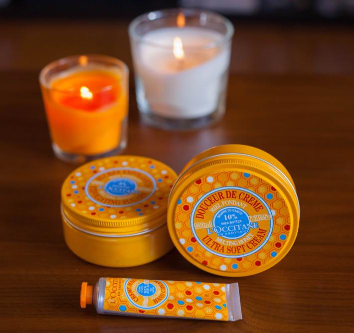 l'Occitane honey + shea butter melting honey collection review