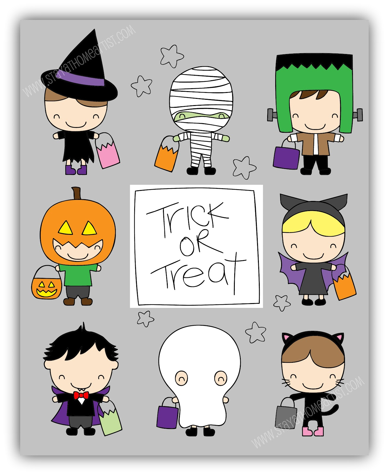 stayathomeartist com little trick or treaters printable