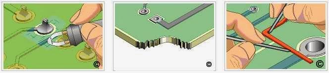 reparando pistas de cobre en placa base electrónica