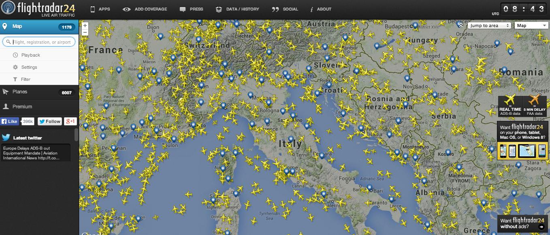 Tutti gli aerei in volo in tempo reale