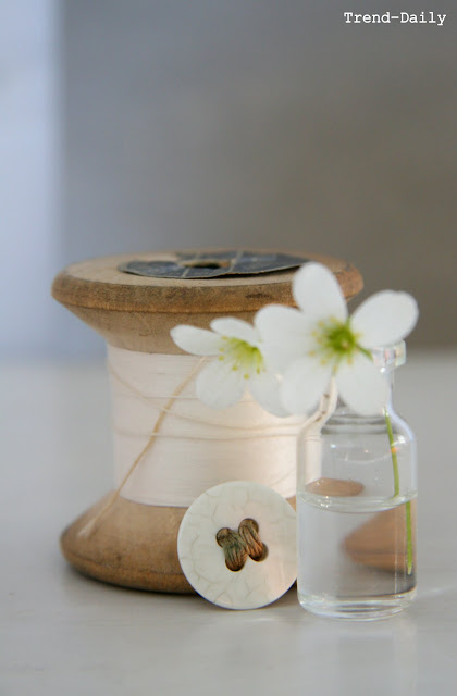 White flowers, white, grey, natural, vintage cotton reel, vintage button, By Fryd, Holly Becker, blogging your way