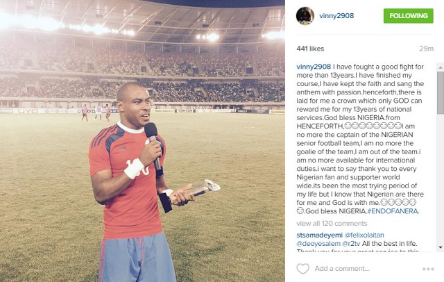 Vincent Enyeama leaves super Eagles after Oliseh bust up,Enyeama retires from super eagles