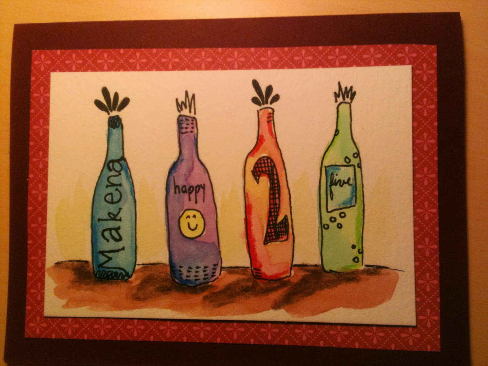 Debbie dots greeting card blog wine bottle birthday makena is a connoisseur of wine so for her birthday card i created a series of decorated wine bottles to carry my birthday message m4hsunfo
