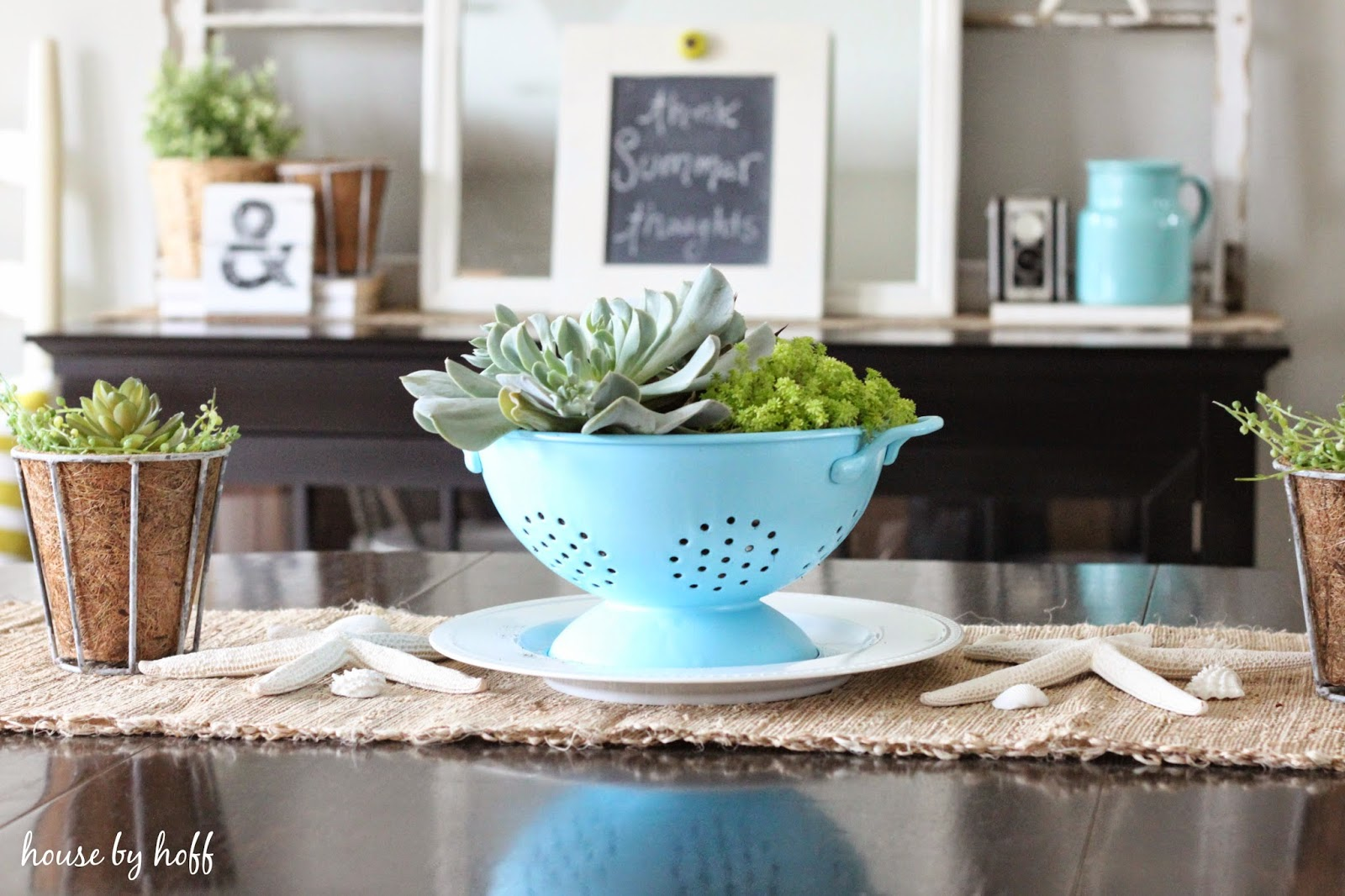 succulent and seashell decorating via housebyhoff.com