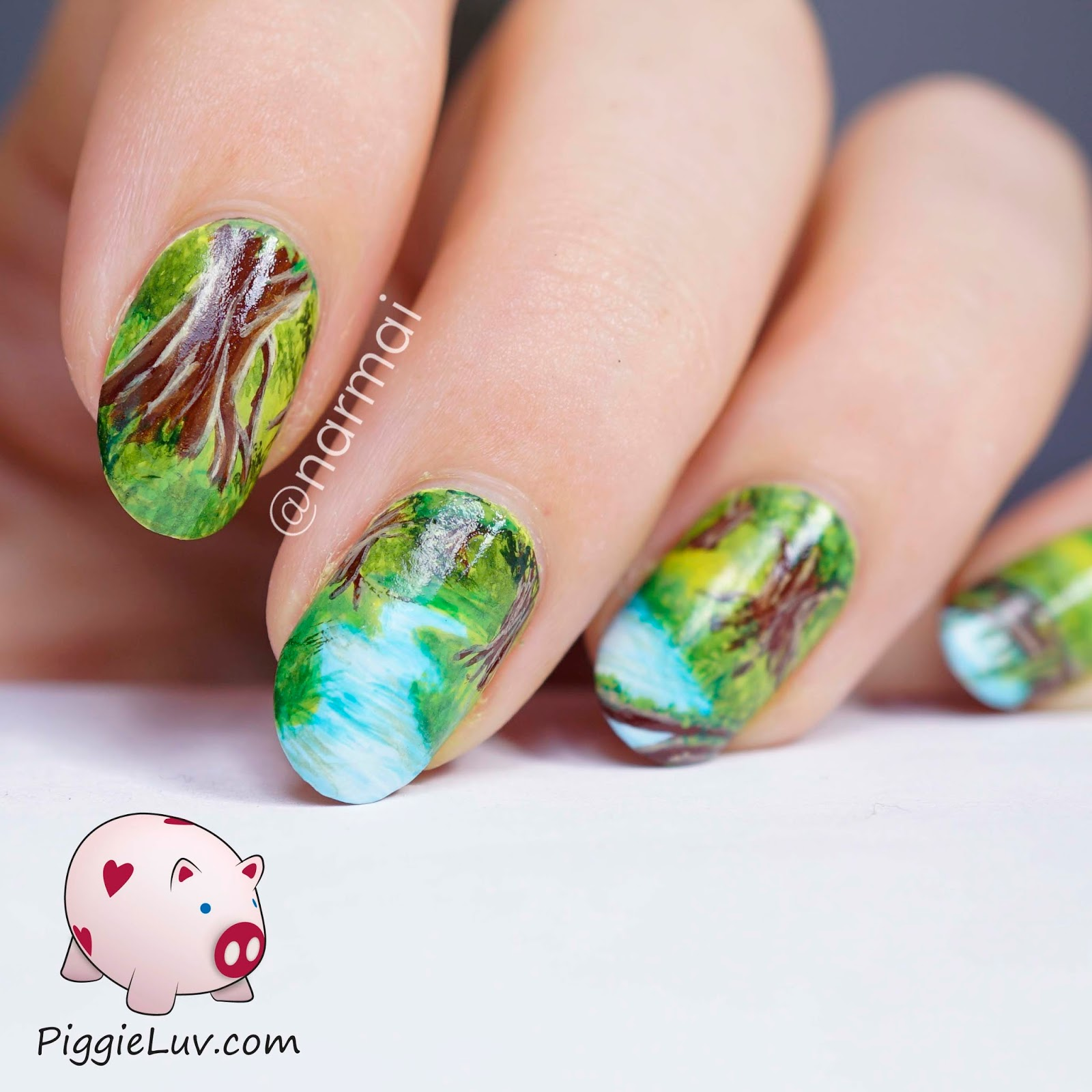Piggieluv freehand forest sprites nail art i hadnt expected this to turn out this pretty im very pleased with it thats a rare thing for me i always see the mistakes in everything i make prinsesfo Gallery