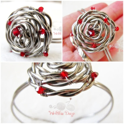 Adjustable Rose Cuff by WireBliss