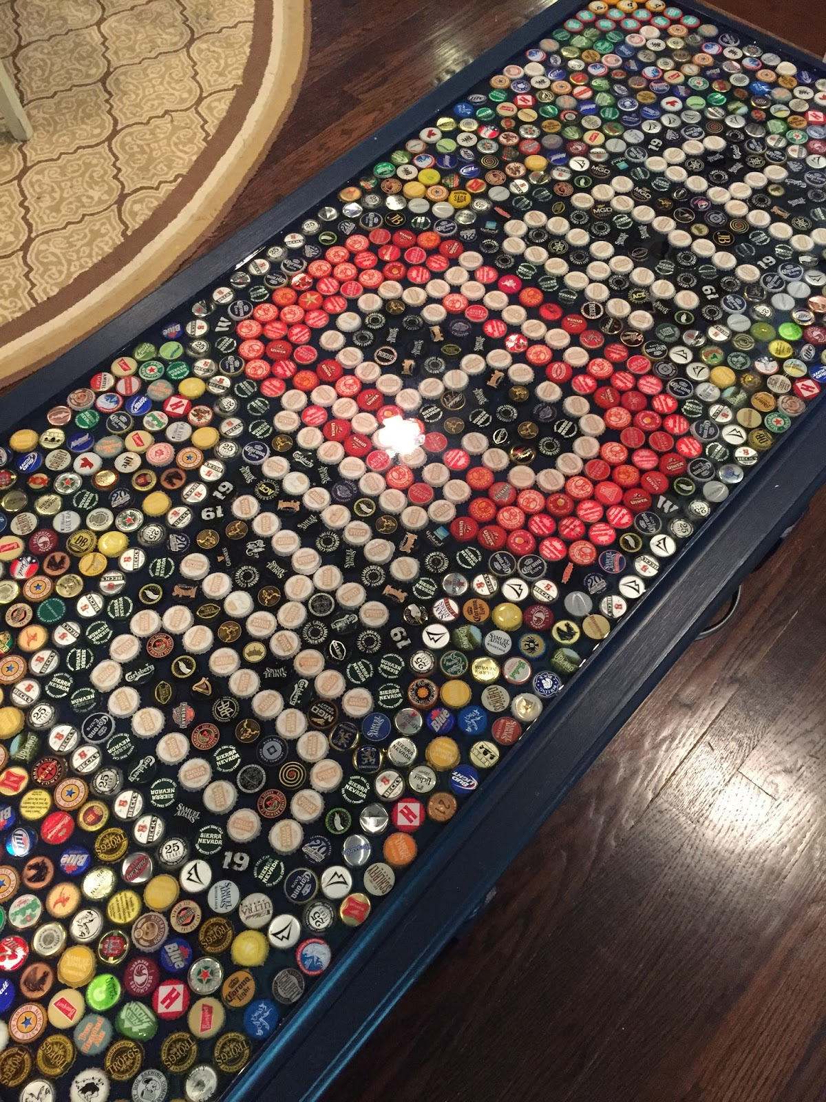 Candacefrances ohio state beer cap table for Beer cap bar top